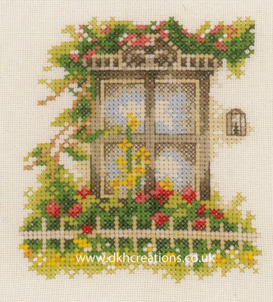 Window With Flowers Cross Stitch Kit